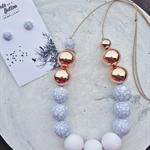Marbleous Jewellery Set - White/Marble/RoseGold