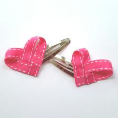 Pair of heart-weave grosgrain ribbon hair clips - YOU CHOOSE COLOUR