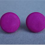 Bright pink stud earrings, round polymer clay stud earrings, 3 sizes, FREE post