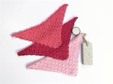 Three pink washcloths  newborn baby shower cotton spa cloth bath beauty