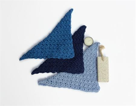 Three blue washcloths  newborn baby shower cotton spa cloth bath beauty