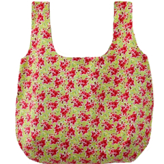 Reversible cotton market bag: raspberry and lime