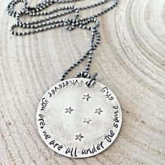 Hand Stamped Quote Necklace, Inspiration Quote Gift, Stars and Sky Necklace