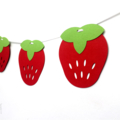Red Strawberry Garland. Birthday party decor, baby shower banner, bunting.