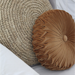 Golden Tan Velvet Vintage Style round cushion-FREE POST