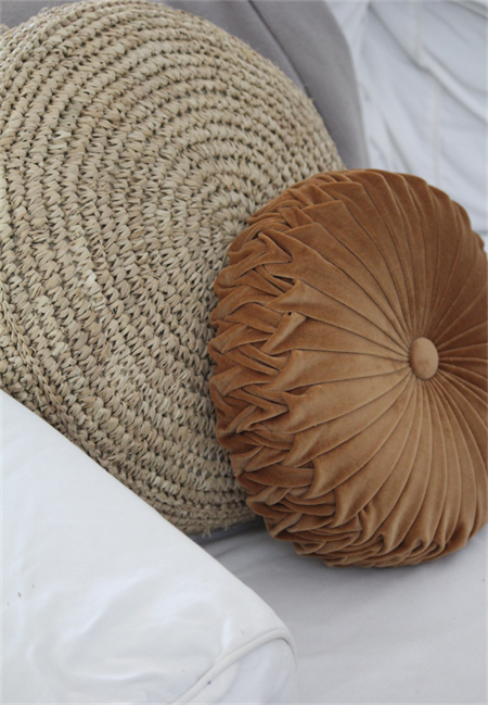 NEW COLOUR - Golden Tan Velvet Vintage Style round cushion