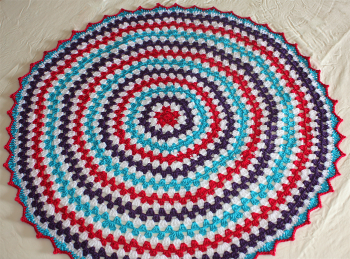 Blue, Pink, Purple and White Girls Crochet Round Baby Blanket   Cuts with Kylie on Madeit