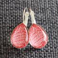 Red Organic Design ~ Smaller  Tear Drop Earrings