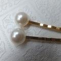 White Resin Pearl Gold Hair Clips-2 hair clips