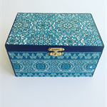 Handcrafted jewellery box, wooden box, Blue box