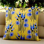 Retro print cushion cover (size 22).  Retro print in yellows, blues and black.