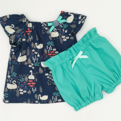 Size 000  Bubble Shorties - Aqua - Cotton - Bloomers - Shorts - Retro