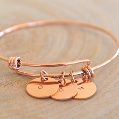 Hand Stamped Charm Bangle, Gift For Mothers Day, Rose Gold Stainless Bangle