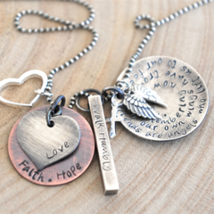 Hand Stamped Quote Necklace, Gift For Best Friend, Inspiration Quote Jewellery