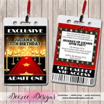 Hollywood Red Carpet Personalised VIP Lanyard Birthday Invitations x 10