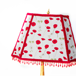 Red poppy beaded lampshade with brass finial