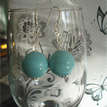 Solid 15 mm Venetian glass turquoise earrings