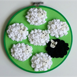 """Black Sheep"" hoop art"