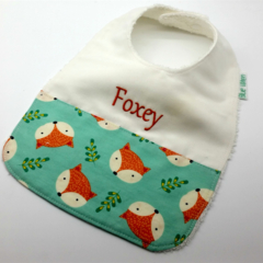 Baby-Feeder Dribble Bib, Foxey on Cotton Fabric Bamboo Toweling Snap Fastened