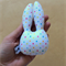 Sleepy Bunny Rabbit | White with rainbow spots | Baby Rattle