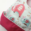 Baby Bucket Bib with Catch Tray, Elephant Cotton Fabric Bamboo toweling lined.