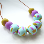 Mint,  Mustard and Lavender Polymer clay statement necklace