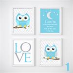 Owl Nursery Prints, Kids Wall Décor, 4 A4 Set Prints