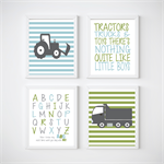 Tractor and Trucks Nursery Prints, Kids Wall Décor, 4 A4 Set Prints