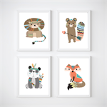 Tribal Woodland Animals Nursery Prints, Kids Wall Décor, 4 A4 Set Prints