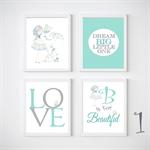 Butterfly Nursery Prints, Kids Wall Décor, 4 A4 Set Prints