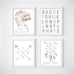 Tribal Nursery Prints, Kids Wall Décor, 4 A4 Set Prints