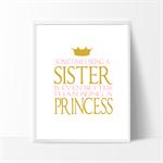 Sisters Nursery Prints, Kids Wall Décor, Princess Print 1 A4 Print