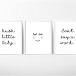 Eye lashes Nursery Prints, Kids Wall Décor, Hush Little Baby, 3 A4 Set Prints