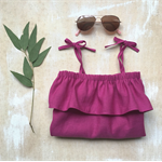 Girls Linen/Cotton Summer Ruffle Dress - Magenta Sizes 1-2, 3-4 & 5-6 years