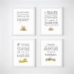 Winnie The Pooh Nursery Prints, Kids Wall Décor, 4 A5 Set Prints