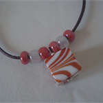 Red Zebra Murano Glass Cube Necklace