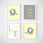 Elephant Nursery Prints, Kids Wall Décor,You are my Sunshine, 4 A4 Set Prints
