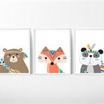 Tribal Woodland Animals Nursery Prints, Kids Wall Décor, 3 A4 Set Prints
