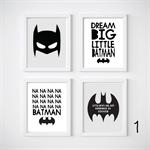 Batman Nursery Prints, Kids Wall Décor, 4 A4 Set Prints