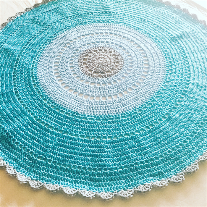 Teal Bule And Grey Crochet Round Baby Blanket Cuts With Kylie