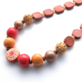 Sunshine days chunky beaded yellow orange wood necklace by Sasha+Max