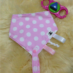 Bandana Binky Bib-Pink and White Dot
