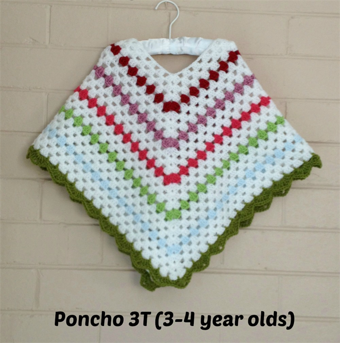 Crochet Baby Ponchos For 3 Year Old Child Unisex Ponchos Size 3t
