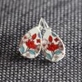 Spring Blossom Wooden Teardrop  Lever Back Earrings