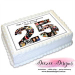 Anniversary Collage Photo Personalised A4 Edible Icing Cake Topper - 25th, 50th