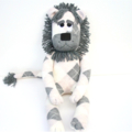 'Linton' the Sock Lion - grey, biscuit and cream argyle - *READY TO POST*