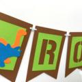Dinosaur ROAR Banner. Dino Birthday party, baby shower. Photo prop.