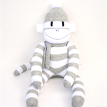 'Edward' the Sock Monkey - grey and white stripes - *READY TO POST*