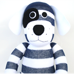 'Davis' the Sock Dog - navy blue and white stripes - *READY TO POST*