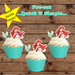 Litlle Mermaid Ariel Half body EDIBLE wafer stand up cupcake toppers PRE-CUT